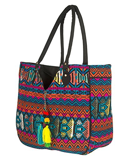 (Women Large Shoulder Tote Bag Woven Canvas Casual Handbag Shopping Red Blue Hippie Unique Style)