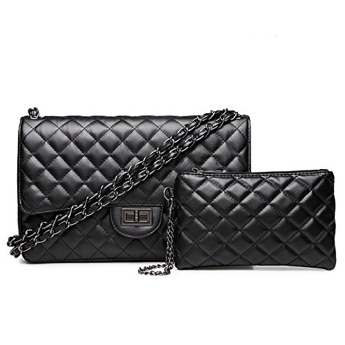 body Lock Plaid Twist Cross Gold Shoulder Fashion Handbag Large Womens Bag Chain Quilted Black2 FcqpwU