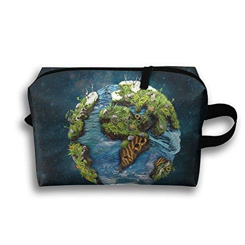 Earth Green Map Cosmetic Bags Makeup Organizer Bag Pouch Zipper Purse Handbag Clutch Bag - Mother Earths Syrup