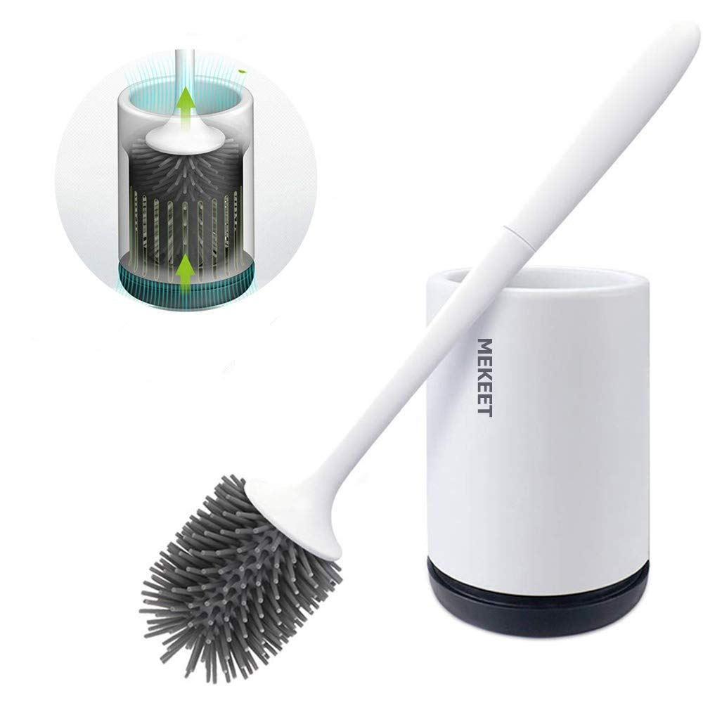 MEKEET Toilet Brush and Holder Set Soft Silicone Bristle Toilet Bowl Brush Compact Toilet Brush for Bathroom Cleaning Upgrade 2019 by MEKEET