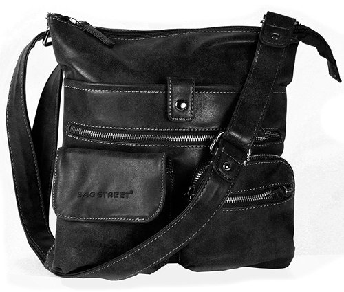 Black Atlanta Compartments Bag Street Handbag Shoulder with Bag Multiple Pwz8zqRBn