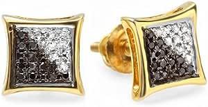 0,05Carat (quilate) 14ct amarillo oro blanco y negro diamante Micro Pave Kite forma Stud Pendientes (1pc)