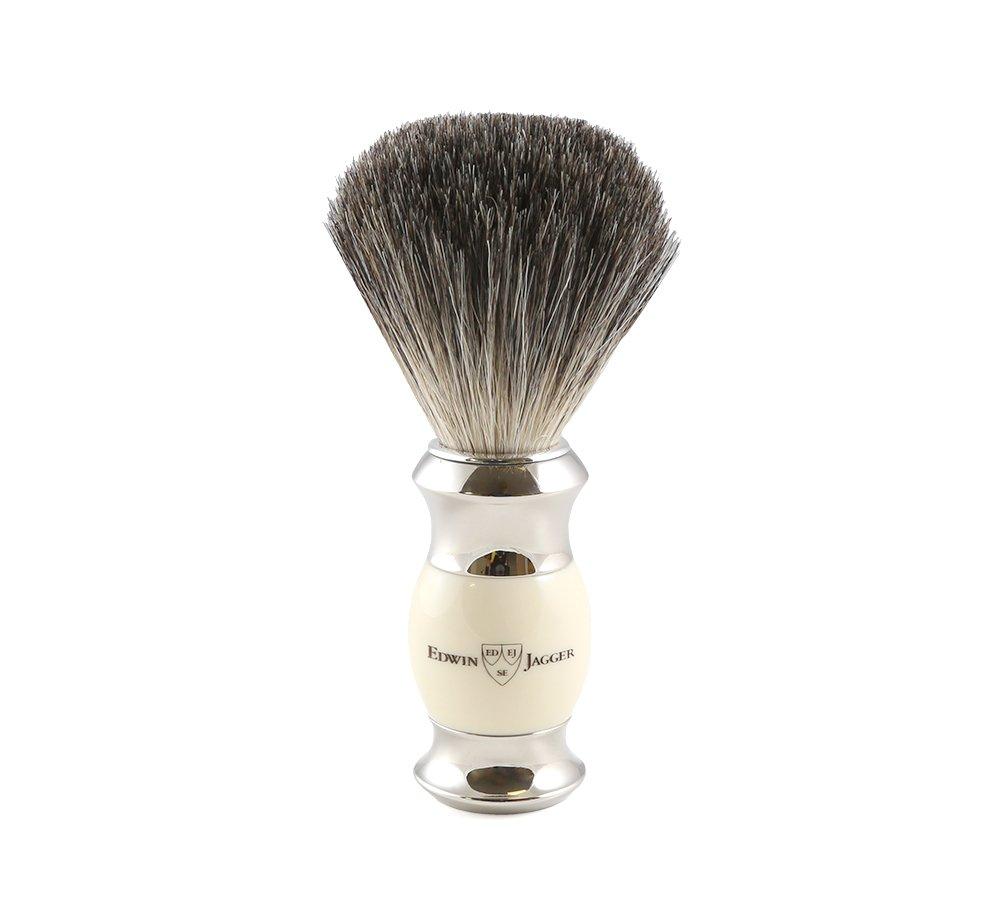 Edwin jagger 81sb356 - Brocha para afeitar de pelo de tejón (imitación de marfil, con cuello y extremo de acero niquelado) Edwin Jagger ES 81SB357AMZ