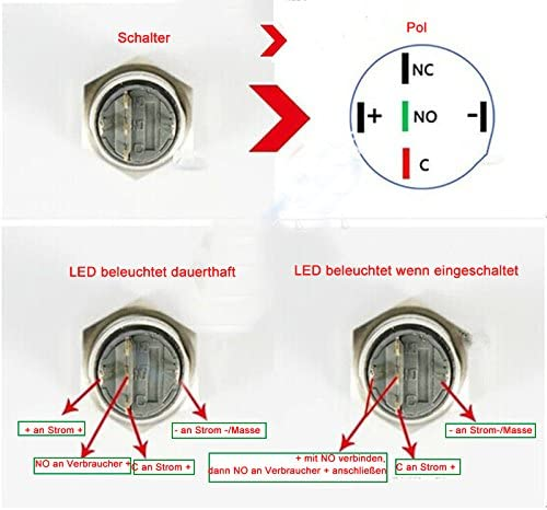 HOTSYSTEM 16mm 12V Metall Reset Taster LED Beleuchtet Drucktaster Druckknopf f/ür Auto KFZ Rot