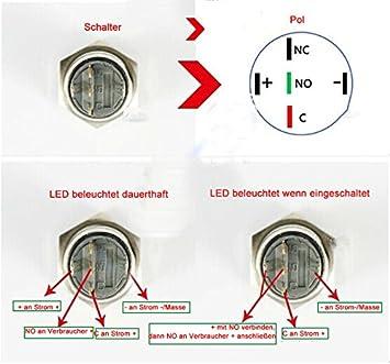 HOTSYSTEM 2 x 12V 16mm Interruttore a pressione ON//OFF con luce a LED inossidabile in metallo per auto bianco