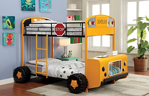 Furniture of America Super School Bus Twin-Twin Bunk Bed, Yellow