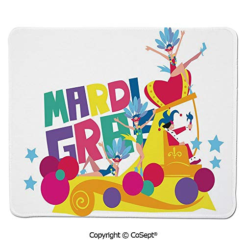 Gaming Mouse Pad,Festival Parade Theme Dancers in Costumes Colorful Dots Stars Abstract Design Decorative,for Laptop,Computer & PC (7.87
