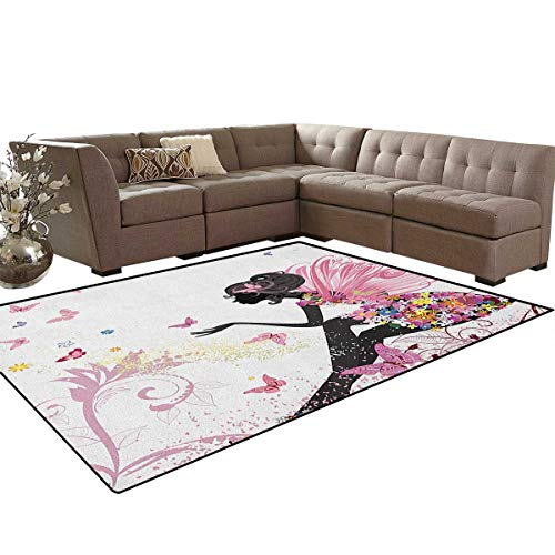 Girls,Rug,Fairy Girl with Wings in a Floral Dress Magical Fantasy Garden Flying Butterflies,Dining Room Home Bedroom Carpet Floor Mat,Multicolor Size:5
