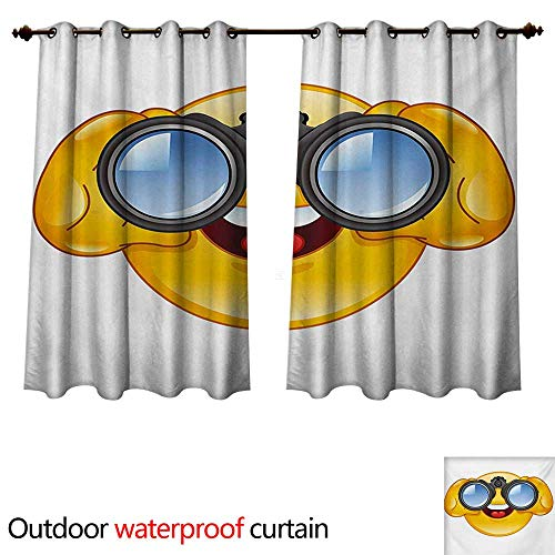 WilliamsDecor Emoji 0utdoor Curtains for Patio Waterproof Smiley Face with a Telescope Binoculars Glasses Watching Outside Cartoon Print W84 x L72(214cm x 183cm)