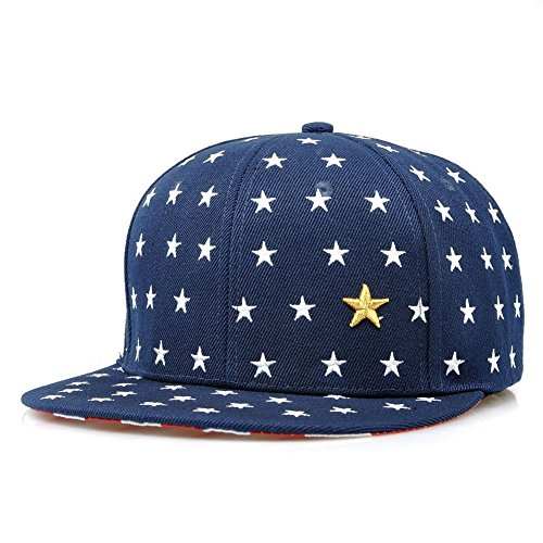 KAFEIMALI Child Summer Hat Star Flat Brimmed Embroidered Baseball caps (Dark blue)