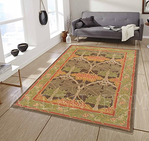 Allen Home Wool Rug 2.5 X9 3 X5 5 X8 8 x10 9 X12 Mariya Green Tufted William Morris Art and Crafts Persian Traditional Wool Rug Carpet 5 X8