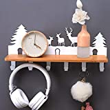 Creative Decorative Cartoon Animal Metal Wall Hanger Clothes Free Punch Wall Hanging Rack Strong Adhesive Hook Clothes Rack Wall Hanging (Color : White, Size : C)