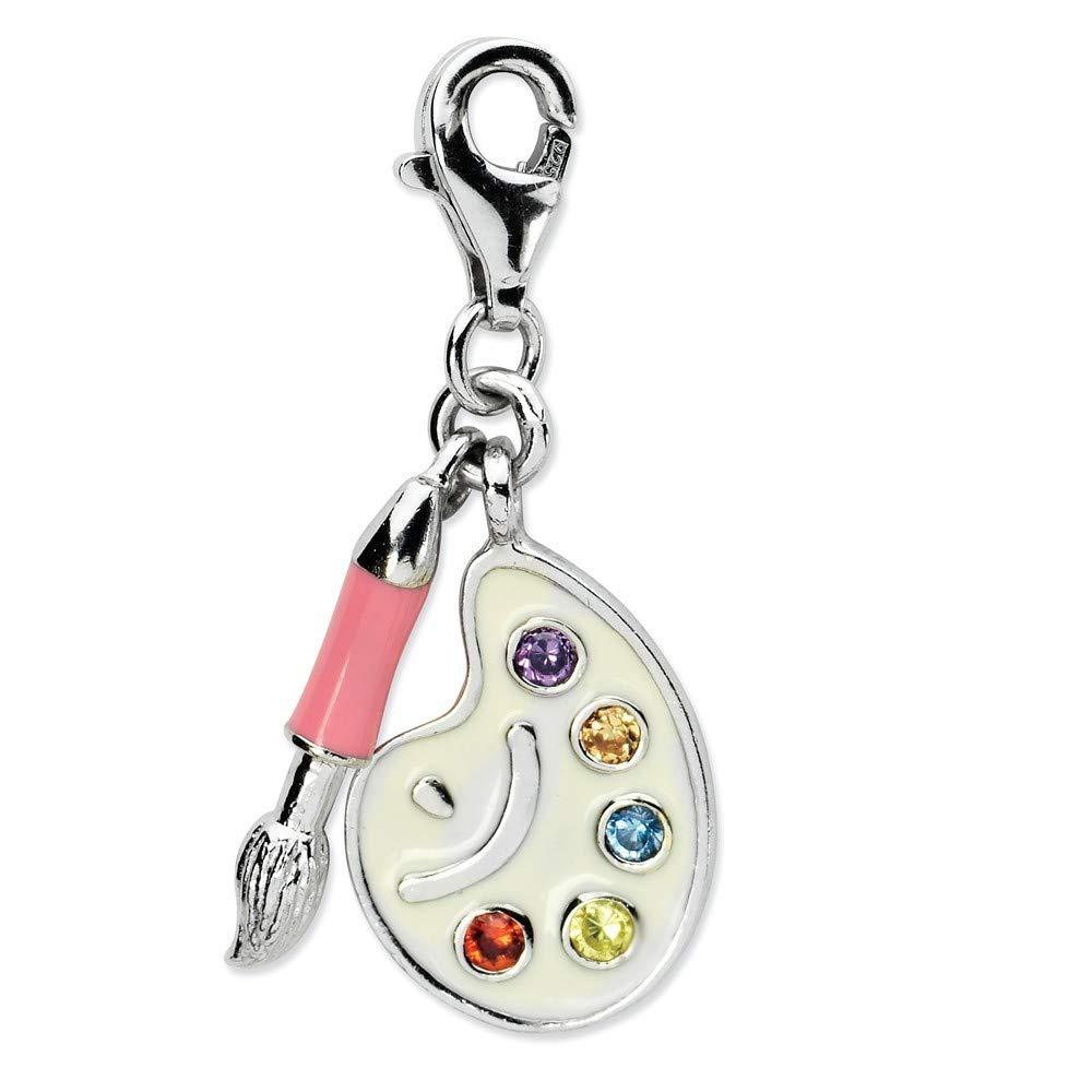 Roy Rose Jewelry Sterling Silver Amore la Vita CZ Enamel Artist Palette w//Lobster Clasp Charm