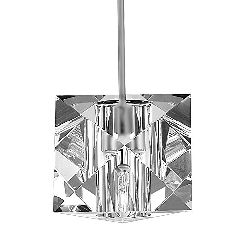 WAC Lighting MP-940-CL/BN Prisma Collection 1-Light Monopoint Pendant, Brushed Nickel with Clear Optical Crystal Glass Shade (Optical Glass Collection)