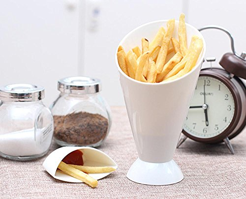 Quaanti 2 in 1 French Fry Cone with Dipping Cup - Home Kitchen Potato Tool Tableware - French Fry Holder,French Fry Cone Dipping Cups for French Fries and Veggies Removable Dip Cup (White) by Quaanti (Image #3)