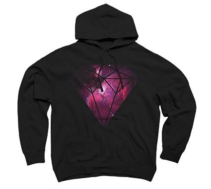 7b5e3cbaaf2e3b Amazon.com: Galaxy Diamond Men's 2X-Large Black Graphic Pullover Hoodie -  Design By Humans: Clothing