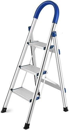 XEWNEG Escalera de Acero Inoxidable, Escalera Plegable Liviana con manija Antideslizante y Pedal de 14 cm para la Oficina en casa al Aire Libre, con 300 Libras (Size : 114CM): Amazon.es: Hogar