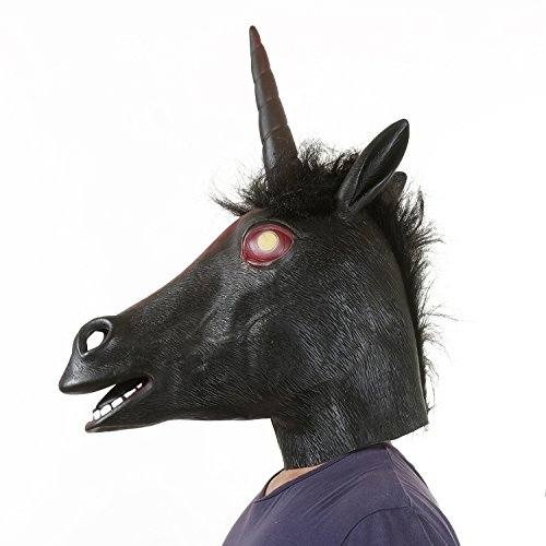 [USATDD Latex Animal Unicorn Head Mask For Halloween Costume Cosplay Party Deluxe Novelty Gift Black] (Mario And Luigi Costumes For Teenage Girls)