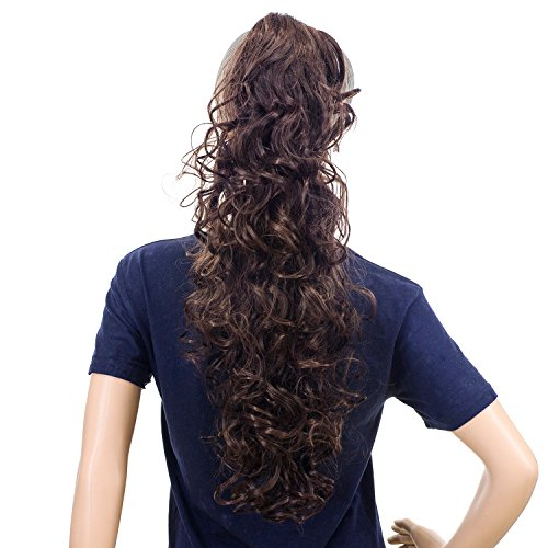 SWACC 24-Inch Long Messy Curls Claw Clip Ponytail Extensions Synthetic Clip in Drawstring Curly Ponytail Hairpiece Jaw Clip Hair Extensions (Black Auburn Mixed-1B/33)