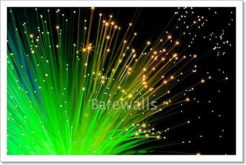 barewalls Green Optic Fibers Paper Print Wall Art (12in. x 18in.)