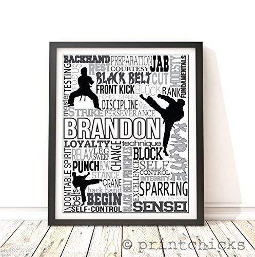 Karate Typography Personalized Print - PrintChicks Taekwondo Wall Art Decor Poster by PrintChicks