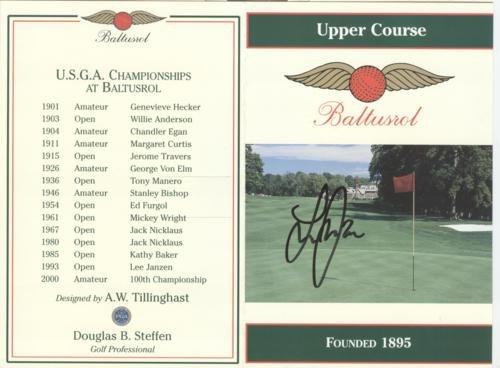 Lee Janzen Autographed Baltusrol Golf Club Upper Course Scorecard - 1993 U.S. Open Champion