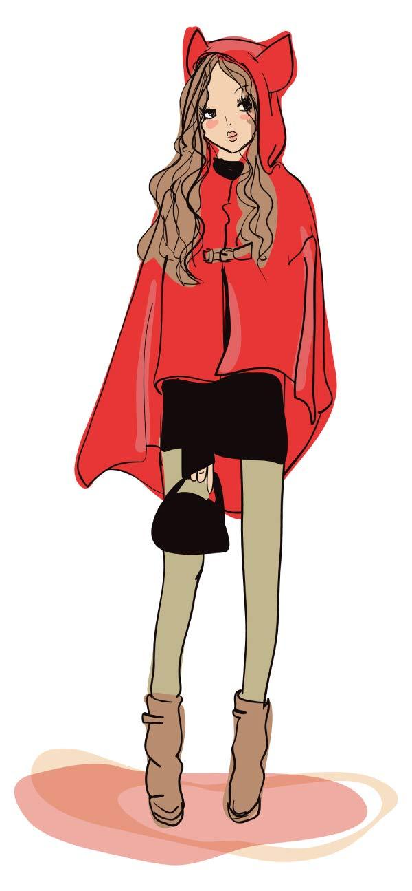 Pegatina de pared Modelar Mujer de abrigo rojo largo con ...