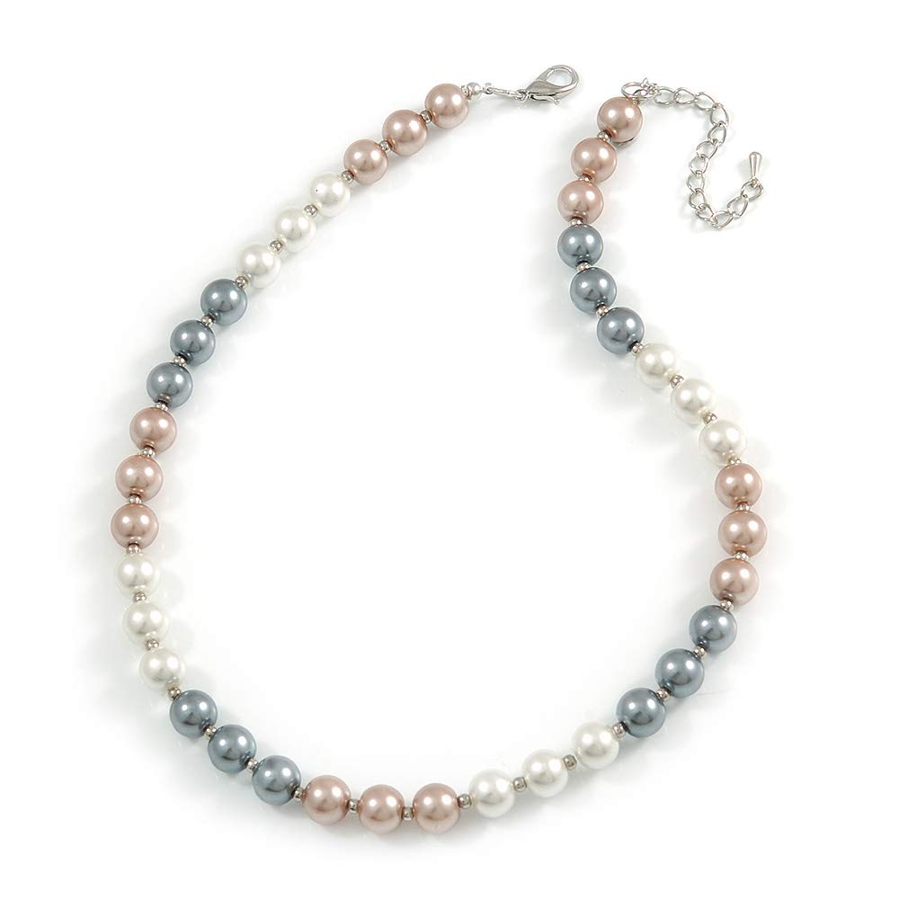 44cm L// 6cm Ext Avalaya 10mm Classic Beige//White//Grey Glass Bead Necklace with Silver Tone Closure