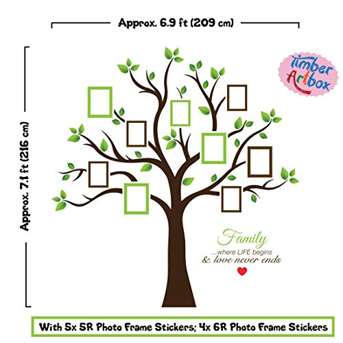 Timber Artbox Large Family Tree Photo Frames Wall Decal The