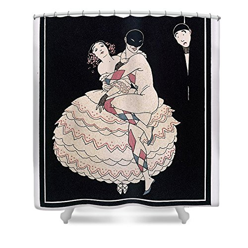Commedia Dellarte Lovers Costumes (Pixels Shower Curtain (74