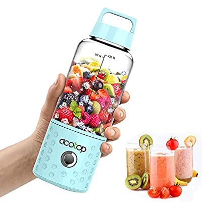 Portable Mini Blender,USB Rechargeable Smoothie Blender Juicer Cup, ACOTOP Fruit Mixing Machine with 4000mAh Rechargeable Batteries for Shakes and Smoothies, Small Blender with Recipe and Cloth Bag