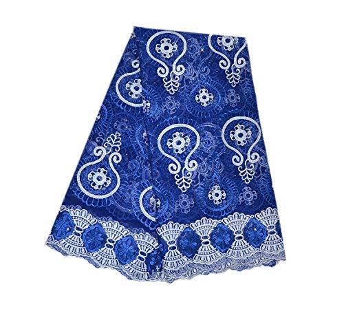 LaceQiao 5 Yards French Net Lace Fabric 2018 Latest African Lace Fabric with Embroidery Mesh Tulle Lace Fabric Nigerian Lace (Royal Blue)