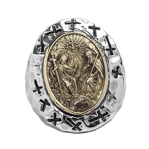 Adisaer Biker Rings Silver Ring for Men Jesus Christ Cross Ring Size 10.5 Vintage Punk Jewelry by Adisaer