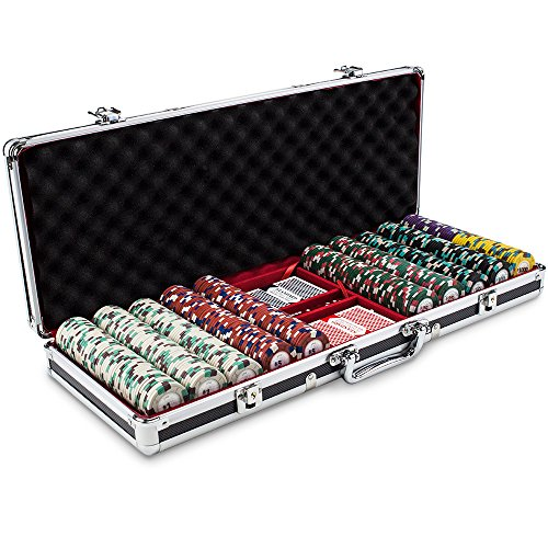 (Claysmith Gaming 500ct Poker Knights Poker Chip Set in Black Aluminum Carry Case, 13.5-Gram Heavyweight Clay Composite)