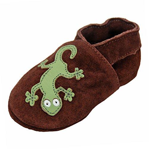 Geckos braun Wildleder 232G Wildleder Lauflernschuhe Lederpuschen Hausschuhe Krabbelschuhe Baby -mit Gummisohle- Gr.19-31 (25/26)