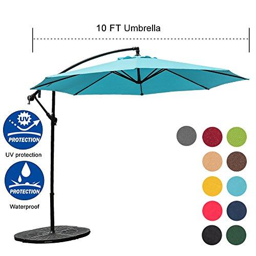 Sundale Outdoor 10FT Offset Umbrella Cantilever Umbrella Hanging Patio Umbrella with Crank and Cross Bar Set, Steel Ribs, Polyester Canopy Shade for Deck, Garden, Backyard, Lake Blue ()