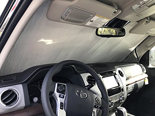 - The Original Windshield Sun Shade, Custom-Fit for Toyota Tundra Truck (Crew Cab) 2018, 2019, Silver Series