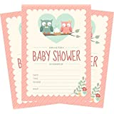 24 Pink Owl Girl 5x7 Baby Shower Invites and 24 White...