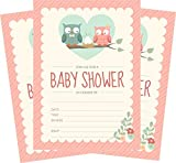 Baby : Owl Baby Shower Invitations Pink for Girl (24 Count) 5x7 Invites with Envelopes
