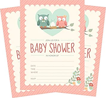 Amazon owl baby shower invitations pink for girl 24 count owl baby shower invitations pink for girl 24 count 5x7 invites with envelopes filmwisefo
