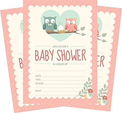 Amazon 24 pink owl girl 5x7 baby shower invites and 24 white 24 pink owl girl 5x7 baby shower invites and 24 white envelopes filmwisefo