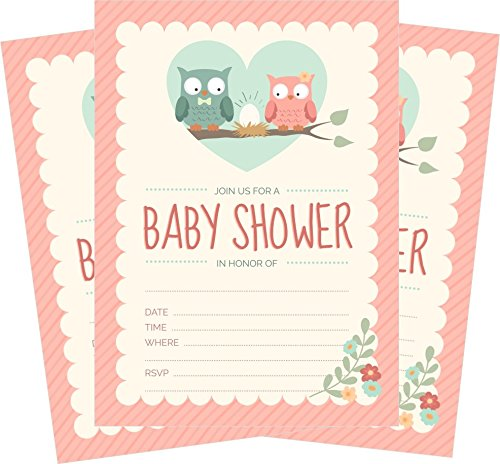 Owl Baby Shower Invitations Pink for Girl (24 Count) 5x7 Invites with Envelopes