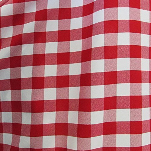 25 Yard Bolt - RED/WHITE 60'' Wide Poly Poplin 1-inch Checkered Fabric