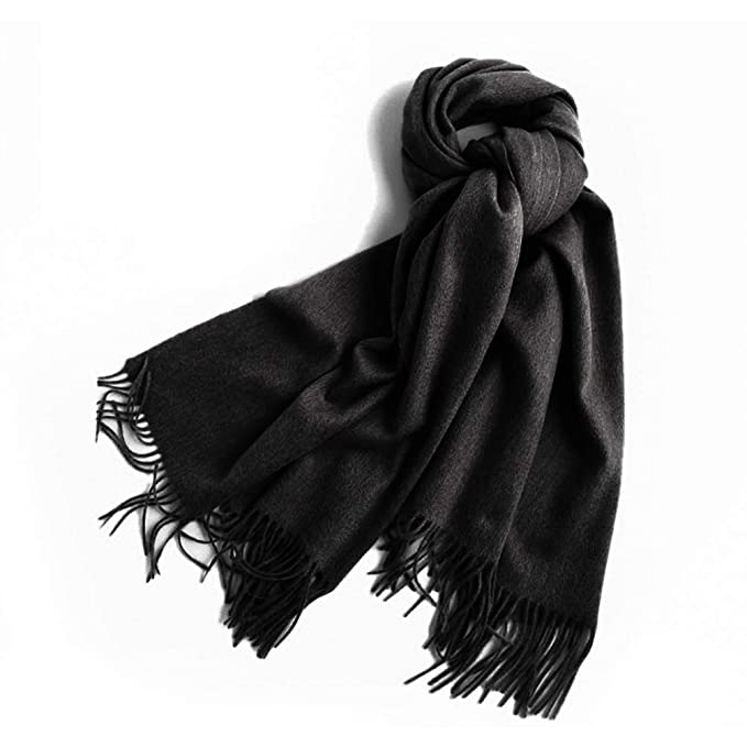 0da9b3caaee2b Micropromo Large Soft Cashmere Blend Women Silky Pashmina Shawl Wrap Scarf  in Solid Colors (Black