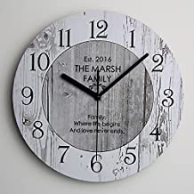 """Timelike Silent Wooden Wall Clock Retro Design, 10"""" Colorful MDF Vintage Round Quartz Clock Big Watch Home Decorative Gift (10 Inch, M 1)"""