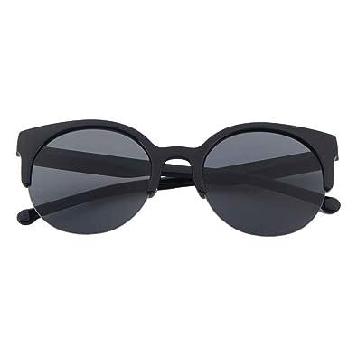 FeiTong Cru Des lunettes de soleil Oeil de chat Semi-Rim Rond Des lunettes de soleil pour Hommes femmes Soleil Des lunettes (C) awbQfkiRO