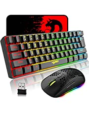 Wireless Gaming Keyboard and Mouse Combo, 2200mAh Mini 61 Keys Mechanical Feeling Keyboard with Bluetooth 5.1&2.4G Wireless Dual Modes,RGB Backlit Wireless Lightweight Gaming Mouse for PC/ Gamer (black)