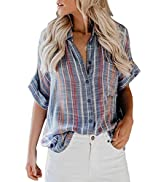 HOTAPEI Womens Summer Blouses Casual V Neck Stripe Short Sleeve Button Down Shirts Tops