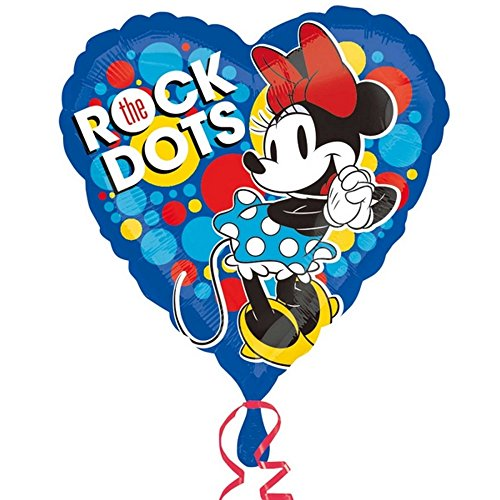 Anagram Disney Minnie Mouse Vintage Heart Shaped Foil Balloon (One Size) (Blue) Vintage Foil