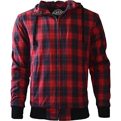 King Kerosin Biker Hoodie Kevlar Red Check XL 1-812-0601-131-XL